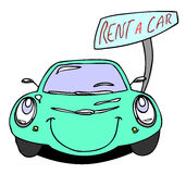 Rent a car. Hand drawn cartoon rent a car Stock Photography