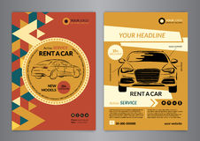 Rent a car business flyer template. Auto service Brochure templates Stock Images