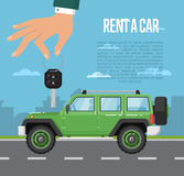 Rent a car concept with hand holding auto key Royalty Free Stock Photos