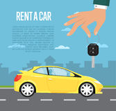 Rent a car concept with hand holding auto key Stock Photography