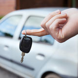 Rent car. Rent a car concept, keys in hand royalty free stock photos