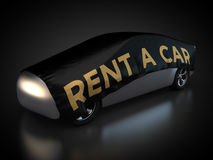 Rent a car. 3D rendering: car to rent with black blanket on carbody Stock Photos