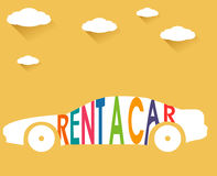 Rent a car, flat color with clouds  long shadow illustration Stock Photo