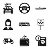 Rent car icons set, simple style vector illustration