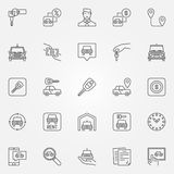 Rent a car icons set. Vector car rental concept signs or design elements in thin line style Stock Photography