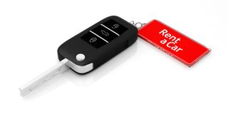Rent a car label on a car key on white background. 3d illustration. Car key and rent a car label isolated on white background. 3d illustration Royalty Free Stock Photography