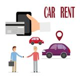 Rent a car through a mobile app. Vector illustration. vector illustration