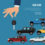 Rent a car poster with hand holding auto key. Rent a car poster with city car and hand holding auto key. Transport service, online pre order car vector Royalty Free Stock Image
