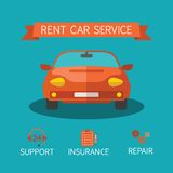 Rent car service vector concept in flat style Royalty Free Stock Photos