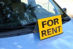 \'RENT A CAR\' sign on car - Rent a car concept stock images