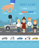 Rent a car template with hand holding auto key Royalty Free Stock Images