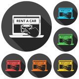 Rent a Car Transportation design icons set with long shadow Stock Photography