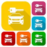 Rent a Car Transportation design icons set with long shadow. Vector icon Royalty Free Stock Image