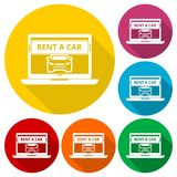 Rent a Car Transportation design icons set with long shadow Royalty Free Stock Photos