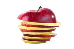 Rent colors sliced apple. On white Royalty Free Stock Photography