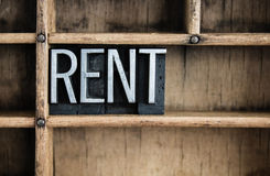 Rent Concept Metal Letterpress Word in Drawer Royalty Free Stock Image
