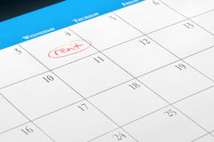 Rent due date on calendar page. A calendar page with a day marked for due rent stock image
