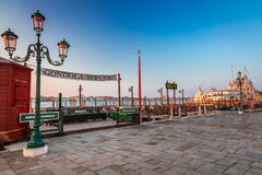 Rent a gondola in Venice in the morning Stock Images