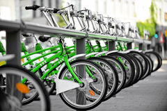 Rent a green bicycle Stock Image