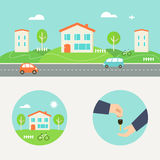Rent a House Illustration. Collaborative Consumption and Shared Economy Royalty Free Stock Image