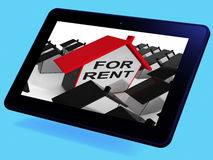 For Rent House Tablet Means Leasing To Tenants Stock Photography