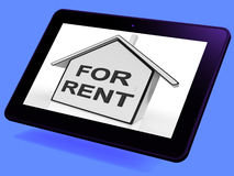 For Rent House Tablet Means Property Tenancy Or Lease Royalty Free Stock Images
