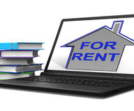 For Rent House Tablet Shows Landlord Leasing Property To Tennant Royalty Free Stock Image