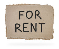 For rent inscription on piece of cardboard. Stock Images