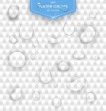 Rent klart vatten tappar den realistiska uppsättningvektorillustrationen genomskinligt vatten för droppe Arkivbild