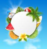 Rent kort med kokosnötcoctailen, skivavattenmelon, orange frukt, palmblad Arkivbilder