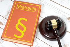Rent law. Law book with the German word rent law and Judges gavel Royalty Free Stock Images