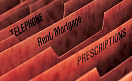 Rent or mortgage file Stock Images