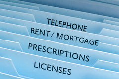 Rent Mortgage Files. Files with various headings such as rent and mortgage stock photos