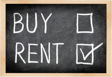 Rent not buy blackboard concept. Choosing renting over buying royalty free stock photography