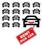 Rent our car label. Vector illustration of cars with label Royalty Free Stock Photos