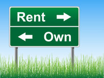 Rent and Own road sign. Rent and Own road sign on the sky background, grass underneath. Vector EPS format stock illustration