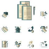 Rent of property flat color icons Royalty Free Stock Photography