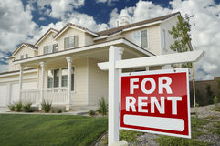 For Rent Real Estate Sign in Front of House royalty free stock photos