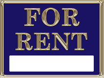 For Rent Real Estate Sign Gold Stock Photo