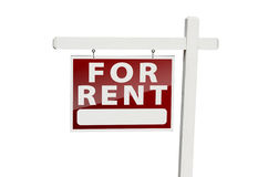 For Rent Real Estate Sign on White. For Rent Real Estate Sign Isolated on a White Background with Clipping Path stock images