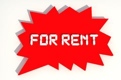 Rent. For Rent Red Color Tags Stock Image