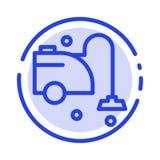 Rent rengöringsmedel, lokalvård, blå prickig linje linje symbol för vakuum royaltyfri illustrationer