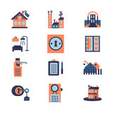 Rent of residential property flat icons Royalty Free Stock Photos