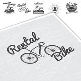 Rent, Sale And Repair - Bicycles, Mopeds And Scooters. Bicycling Club. Detailed Elements. Old Retro Vintage Grunge Royalty Free Stock Photos