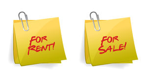 For Rent or sale Sticky Note Stock Photos