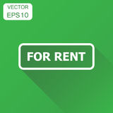 For rent seal stamp icon. Business concept rent pictogram. Vecto. R illustration on green background with long shadow Royalty Free Stock Photography