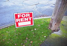 For rent sign. Posted on street corner stock photo