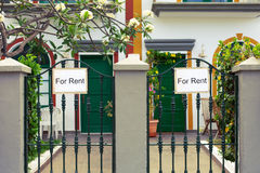 For Rent Sign. In front of house royalty free stock photo