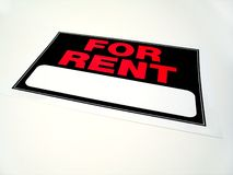 For rent sign. A for rent sign on a white background, add your own information Stock Photography