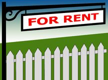 FOR RENT sign Stock Photos